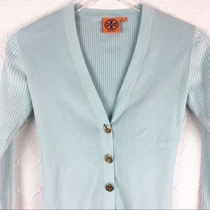 Tory Burch Button Down V-neck Ribbed Sweater XS